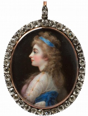 Portrait miniature of Georgiana, Duchess of Devonshire, by Horace Hone, London, 1812. Museum no. LOAN:GILBERT.264:1-2008