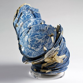 Waster of 34 dishes fused together, Delft, Netherlands, about 1640-60. Museum no. C.10-2005