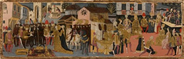 'The Continence of Scipio', poplarwood cassone panel painted in tempera, from the workshop of Apollonio di Giovanni, Florence, Italy, about 1463-5. Museum no. 5804-1859