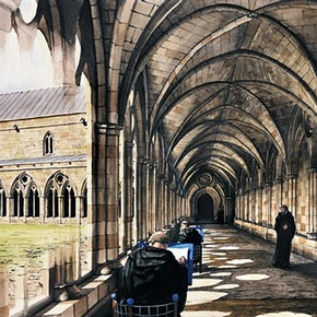 Drawing showing how the cloister of Battle Abbey might have appeared in the 13th century, with the north cloister being used as a scriptorium. © English Heritage Photo Library.