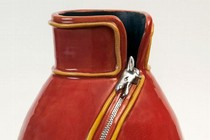 'Chinese Zip Vase', made by Daphne Golding during her Pottery and Sculpture class at City College Peterborough