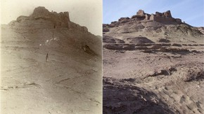 Mazartagh fort with refuse slopes, Sir Marc Aurel Stein, 1906-1908. Photo 392/26(707), © The British Library Board (left). Same view, Victoria Swift, 2008. Photo 1187/2(307), © International Dunhuang Project (right)
