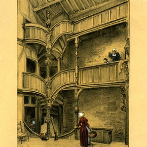 Watercolour (undated) showing an additional floor inserted into 33 Rue du Mur, Morlaix. Supplied by Muse de Morlaix.