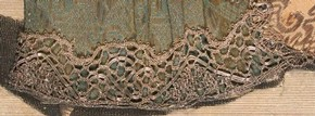 Figure 15 - Detail of metal bobbin lace on the underskirt of Mademoiselle Subligny dansant a l'Opera, Jean Mariette (publisher), 1688-1709. Museum no. 1197-1875, given by Lady Wyatt