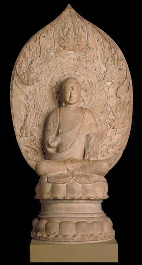 Figure 5 - Seated Buddha, Figure of Buddha, Hebei, China, 550 – 577, marble sculpted, 166.7 x 92 x 40 cm. Museum no. A.36-1950
