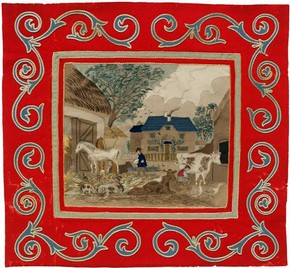 Figure 1 - Wool intarsia panel depicting a farmyard scene, maker unknown, about 1850. Museum no. AP.27-1917