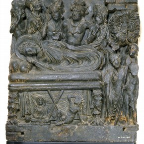 Death of the Buddha, schist relief, 2nd-3rd century AD, Museum no. IM.247-1927
