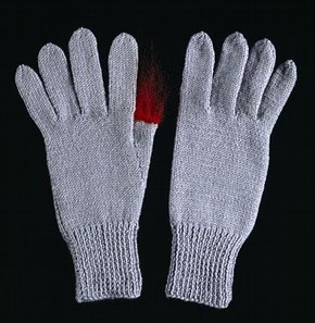 &#39;Conrad&#39;, knitted gloves, Freddie Robins, 2005 (click image for larger version)
