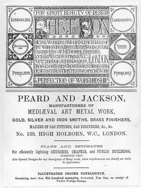 Advertisements of church furnishers Hart & Son and Peard & Jackson, from the Architectural Exhibition Society's catalogue, 1868