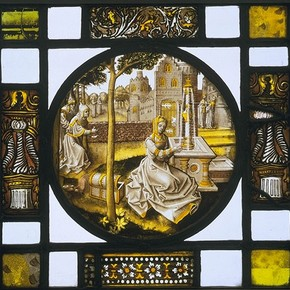 Susanna and the Elders, stained glass panel, possibly by the glass designer known as the Pseudo-Ortkens, about 1520-40. Museum no. 5636-1859
