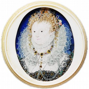 Portrait of Elizabeth I by Nicholas Hilliard, about 1600, Museum no. P.1-1974