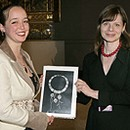 Winner Tamsin Browne with Curator of South and South-East Asia Helen Persson