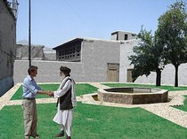 Photomontage showing proposal for reconstruction of Peacock House, and creation of public garden.  Shahed Saleem