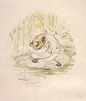 Beatrix Potter, 'Jeremy Fisher fishing'.  Frederick Warne