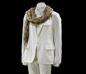 John Varvatos, Cotton canvas jacket and trousers, cotton shirt, woven hemp belt, silk and cotton voile scarf, Spring/Summer 2007