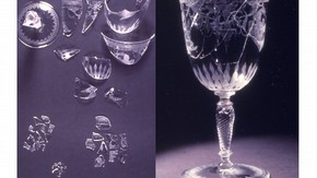 Glass goblet - fragments of broken glass. Museum no. CIRC.618-1967