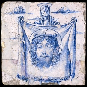 Tile depicting St. Veronica, Italy, about 1490. Museum no. 7549-1861