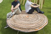 The Campana Brothers with a new outdoor edition of their &#39;Vitoria Regia&#39; stools, specially designed to mark the V&A&#39;s 150th anniversary.