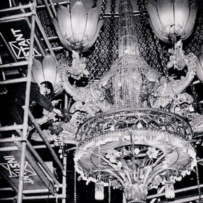 Fig.3. Cleaning the chandelier once the lower lustre chains were removed.
