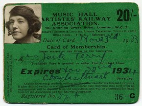Rail Pass, Music Hall Artistes' Railway Association, 1933