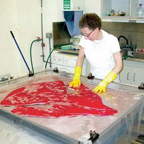 Figure 2. The jacket being washed (Photography by Jennifer Barsby)
