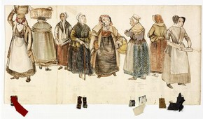 Frieze showing the costume design for Peter Grimes in Benjamin Brittens opera 'Peter Grimes', Alix Stone, Scottish Opera, 1968