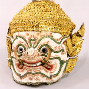 A papier-mâché demon-faced dance mask with gold and painted mirror work. Museum no. IM. 45-1939