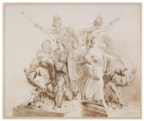 John Bell, Drawing for Sculpture of 'America', 1864. Museum no. E.545-2008