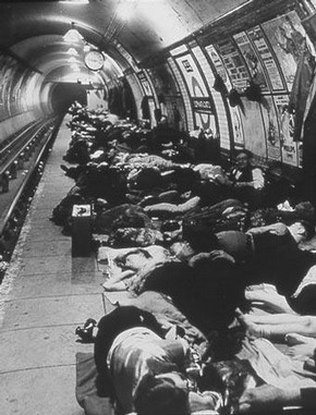 People Sheltering in the Tube, Elephant and Castle Underground Station, Bill Brandt, 1940  Bill Brandt Archive Ltd.