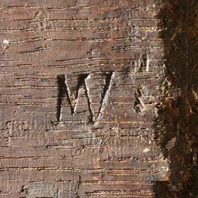 Detail of reverse of panel showing panel maker's mark. The monogram MV, indicates that it was made by Michiel Vrient (active 1615 -1637)