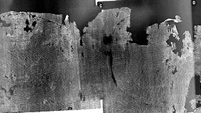 Figure 2. X-radiograph of the lower edge of the tunic (291-1891) with bright white (denser) 'tide-line' pattern, consistent with water staining and movement of debris to edge of wet region (Photography by Paul Robbins, mosaic by Sara Gillies)