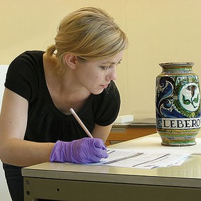 Figure 1. Helen Nodding, Condition Reporting Administrator, at work (Photography by Louise Egan)