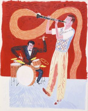 Jonny Hannah, 'Benny Goodman and Gene Krupa', original painting in acrylic, gouache and ink for Hot Jazz Special, London, Walker Books, 2005