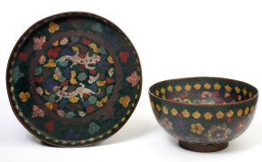 Cloisonné dish and bowl, possibly by Kaji Tsunekichi, Japan, 1855-1865 Museum no. 249-1904, © Victoria and Albert Museum, London