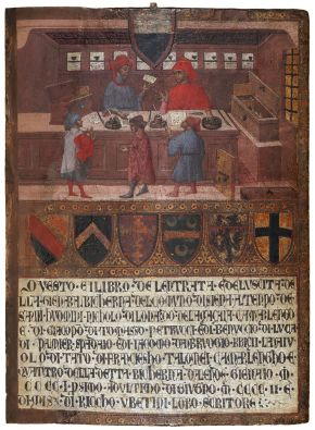 Tavoletta di Biccherna: The Camarlingo Niccolò di Leonardo della Gazaia, His Scrivener and Three taxpayers, Paolo di Giovanni Fei, 1402. Museum no. 414-1892. © Victoria and Albert Museum, London.