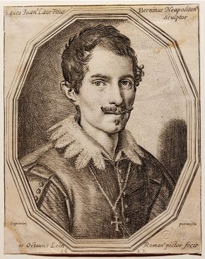Engraving of Gianlorenzo Bernini (1598-1680), by Ottavio Leoni (1578–1630), Italy, 1623. Museum no. E.1580-1889,  © Victoria and Albert Museum, London