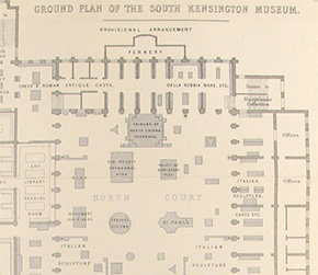 Figure 12. Early plan of the North Court. Image taken from A Guide to the Art Collections of the South Kensington Museum (London: Spottiswoode & Co.: 1868). Photograph: Donal Cooper courtesy of the National Art Library