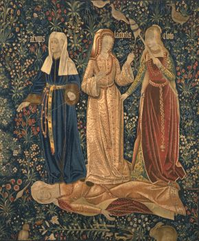 The Three Fates; The Triumph of Death, tapestry, unknown maker, early 16th century. Museum no. 65&A-1866. © Victoria and Albert Museum, London