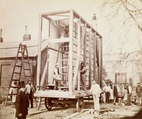 Royal Engineers making the cart used to transport the Raphael Cartoons from Hampton Court, 1865, Albumen print. Museum no. 68:729, © Victoria and Albert Museum, London
