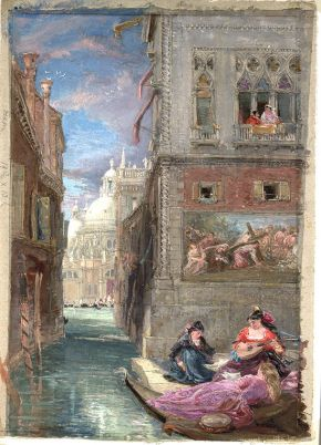 'Canal at Venice with a group of ladies playing and singing: Santa Maria della Salute in the background', by James Holland, watercolour. Museum no. 1147-1886, © Victoria and Albert Museum, London