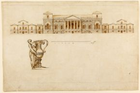 Design for the south front, Holkham Hall, William Kent, 1731-34, pen and ink, brown wash. By permission of Viscount Coke and the Trustees of the Holkham Estate. Photographer, Bruce White