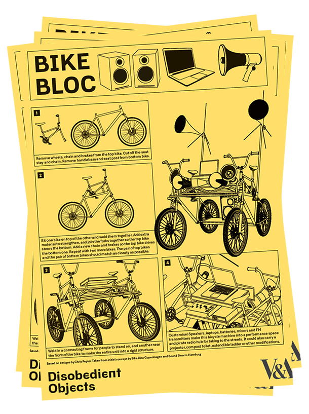 How to Guides - Bike Bloc. llustration by Marwan Kaabour, Barnbrook.
