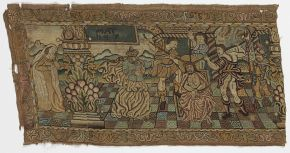 Scene from the Passion of Christ, part of an embroidered valance, unknown maker, France/Scotland, late 16th century, silk thread on canvas. Museum no. CIRC.402-1911. © Victoria and Albert Museum, London