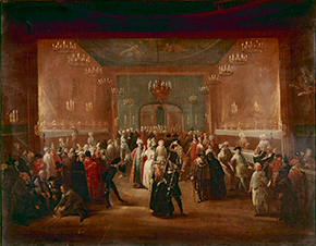 Grisoni, A Masquerade at the King's Theatre, Haymarket, oil on Canvas, c. 1724