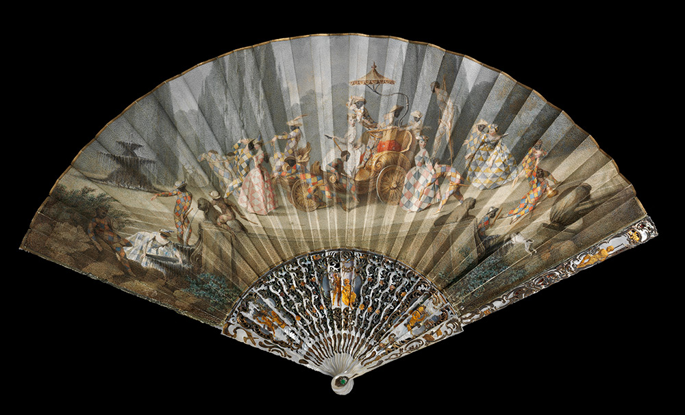 Fan with the  Triumph of Harlequin, about 1750, Italy (Rome), watercolour on leather  with mother-of-pearl sticks. Museum no. T.153-1920, © Victoria and  Albert Museum, London
