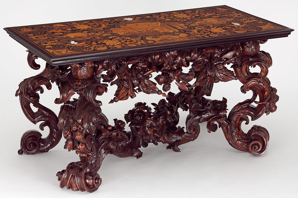 Table, top by Lucio de Lucci, base possibly by Andrea Brustalon, about 1686, Italy (Venice), European and tropical hardwoods. Museum no. W.6-2012, © Victoria and Albert Museum, London