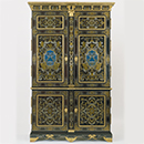 Cupboard, about 1700, France (Paris), ebony veneer, with marquetry of engraved pewter and brass and panels of clear horn over blue pigment, on an oak carcase. Museum no. 1026:1, 2-1882, © Victoria and Albert Museum, London