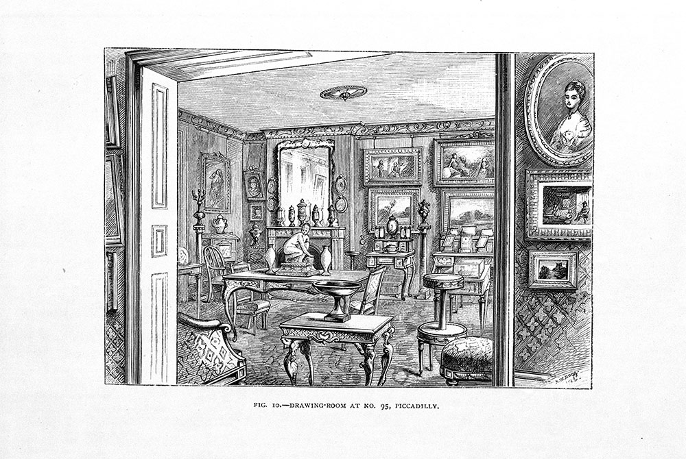 Drawing room at 95 Piccadilly, published in The Handbook of The Jones Collection in the South Kensington Museum (Chapman and Taylor, 1883). Museum no. NAL. 185.655.H, © Victoria and Albert Museum, London