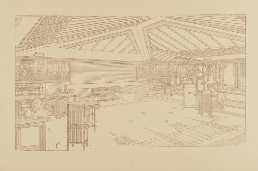 Perspective Showing Living Room In The Avery Coonley House Oak Park Illinois By Frank Lloyd Wright 1907 8 From Ausgefuhrte Bauten Und Entwurfe Von