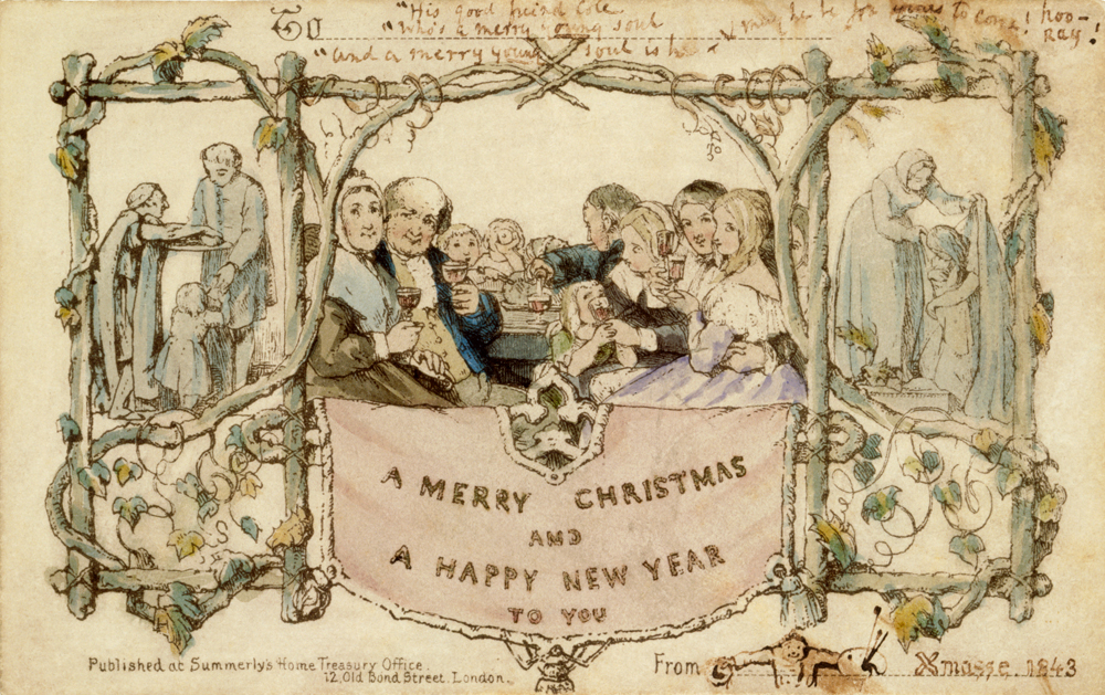 christmas card designed by jc horsley for sir henry cole 1843 museum no l3293 1987